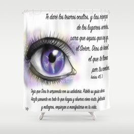 Ojo galaxia - Isaías 45, 3 Shower Curtain