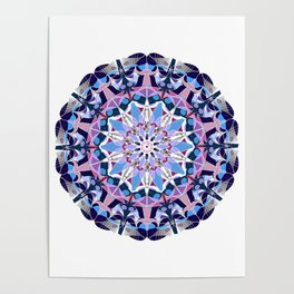 blue grey white pink purple mandala Poster