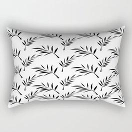 White and Black Leaf Design Rectangular Pillow