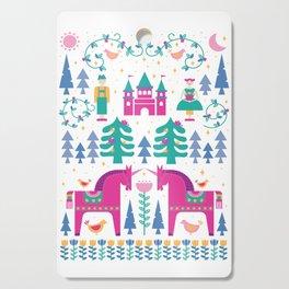 Scandinavian Fairytale in Teal + Magenta Cutting Board