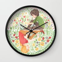 grantaire Wall Clocks featuring The Law of Complementary Colours by foxflowers