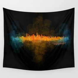Vancouver Canada City Skyline Hq v04 dark Wall Tapestry