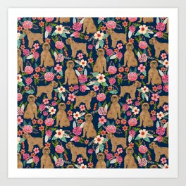 Brussels Griffon florals pattern for dog lovers custom pet friendly gifts for all dog breeds Art Print