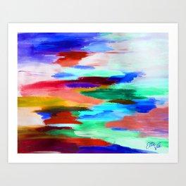 EttaVee Brush Stroke no.69 Blue Art Print