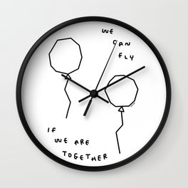We Can Fly - balloon illustration Wall Clock