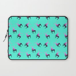 Pink elk silhouettes against turquoise green background pattern design Laptop Sleeve