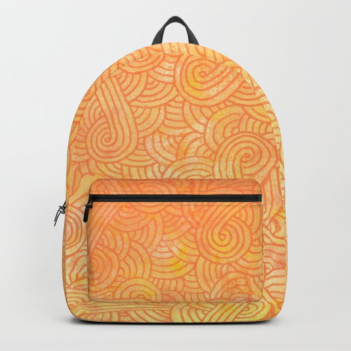 Ombre yellow and orange swirls doodles Backpack