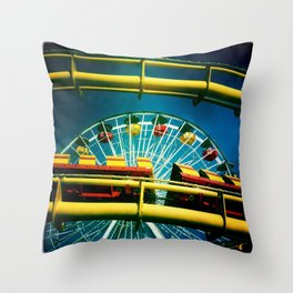 Santa Monica Pier Rollercaster Throw Pillow