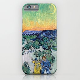 Couple Walking among Olive Trees, Vincent Van Gogh iPhone Case