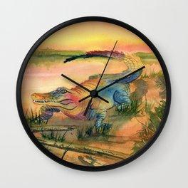 Alligator at Sunset  Wall Clock