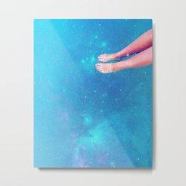 Retro Space Swim Metal Print