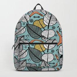 Australian Flora - X-ray Leaves, Boomerang and Symbols Backpack