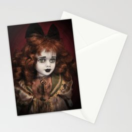 Creepy doll with Green Eyes and Old Key Stationery Cards