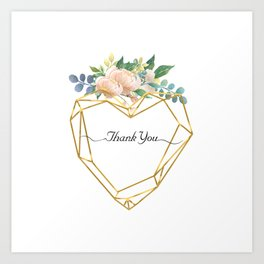 Graphic Heart and Flowers Art Print