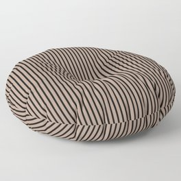 Warm Taupe and Black Stripes Floor Pillow