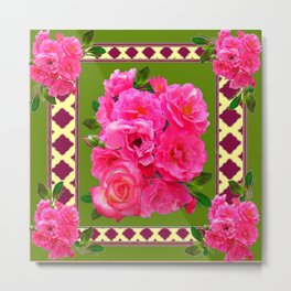 VIBRANT PINK ROSES ON MOSS GREEN PATTERN Metal Print