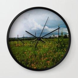 Texas Wildflowers - Retro Style Art of Flowers Along Fenceline Wall Clock
