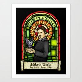 Tesla: The Electric Jesus Art Print