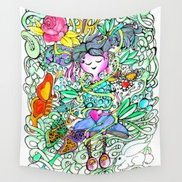 Dreamy Girl - Handmade Ink and Water Colour Illustration Wall Tapestry