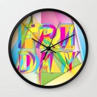 friday Wall Clocks featuring Friday by Cohen McDonald