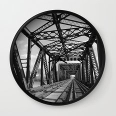 Train Bridge 3 - B&W Wall Clock