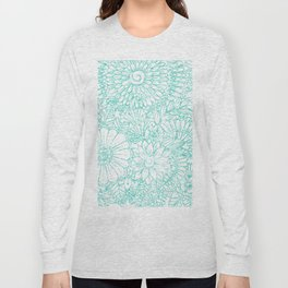 Artistic teal white hand painted floral pattern Long Sleeve T-shirt