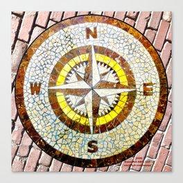Compass Rose On Brick Street Canvas Print