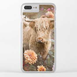 Flower Cow Clear iPhone Case
