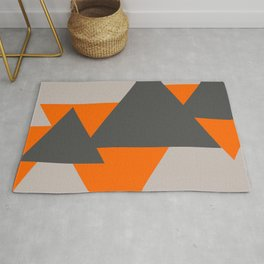 Orange and Grey Triangles Rug
