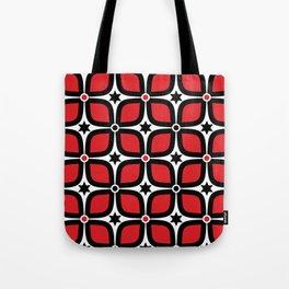 Mid Century Modern 4 Leaf Clover - Black, White, Red Tote Bag