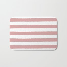 Mauve and white stripes - classy college student collection Bath Mat
