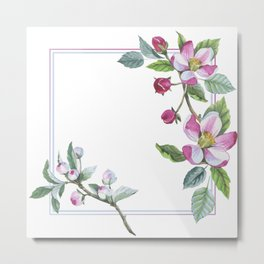 Apple Blossom Frame 01 Metal Print