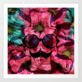vintage old skull portrait with red and blue flower pattern abstract background Art Print