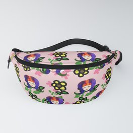 60s girl pink floral daisy Fanny Pack