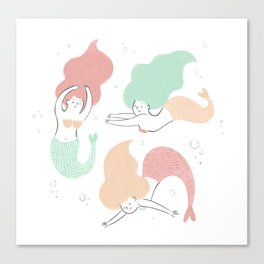 Colorful mermaids Canvas Print
