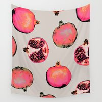 patterns Wall Tapestries featuring Pomegranate Pattern by Georgiana Paraschiv