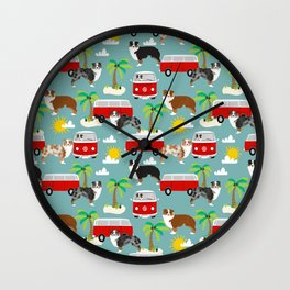 Australian Shepherd dog breed tropical summer dog lover gifts Wall Clock