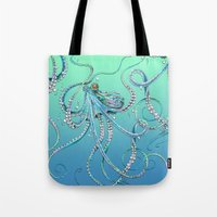 drunk Tote Bags featuring Drunk Octopus by TAOJB