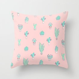 little succulent pattern on pastel pink throw pillow