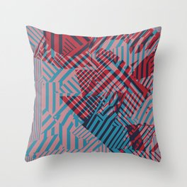 Dazzle Camo #02 - Blue & Red Throw Pillow