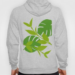 Simply Tropical Leaves with White background Hoody