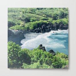 Hawaiian Black Sand Tropical Beach Metal Print