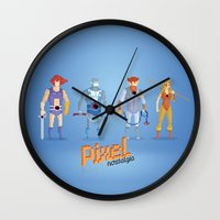 thundercats Wall Clocks featuring Thundercats - Pixel Nostalgia  by Boo! Studio