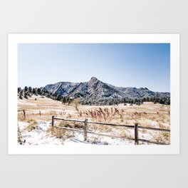 Flatirons Boulder // Colorado Scenery Mountain Landscape Snowfall Fence Line Art Print