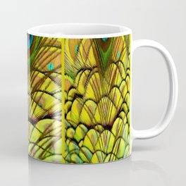GREEN-YELLOW PEACOCK FEATHERS ART DESIGN Coffee Mug