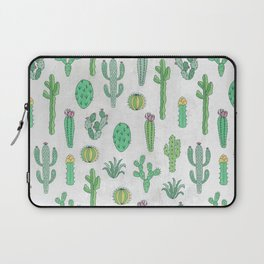 Cactus Pattern White Laptop Sleeve