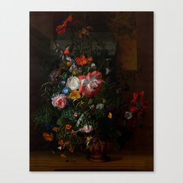 "Rachel Ruysch ""Roses, Convolvulus, Poppies, and Other Flowers in an Urn on a Stone Ledge"" Canvas Print"
