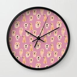 Golden Retrievers on Pink Wall Clock