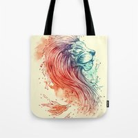 lion Tote Bags featuring Sea Lion by Steven Toang