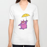 cheshire V-neck T-shirts featuring Cheshire Totoro by sirwatson